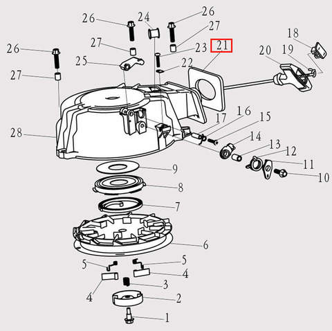Отбойник ручки стартера для лодочного мотора F9.8 Sea-PRO (8-21)