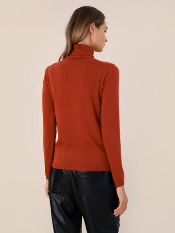 Женский свитер терракотового цвета из шерсти и шелка - фото 4