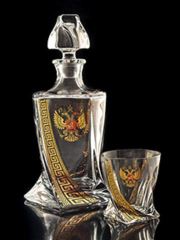 Подарочный набор для виски из хрусталя «Президент»: 1 штоф 850 мл и 6 стаканов 330 мл