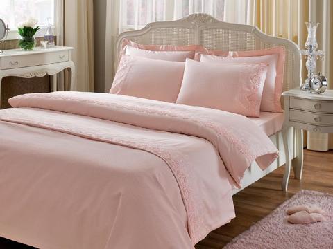 Постельное белье NOVA CIFT розовый с кружевом deluxe TIVOLYO HOME Турция