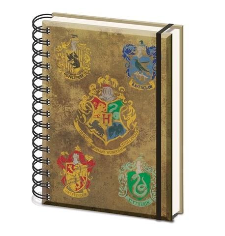 Записная книжка Harry Potter (Hogwarts Crest & Four Houses) A5 Wiro