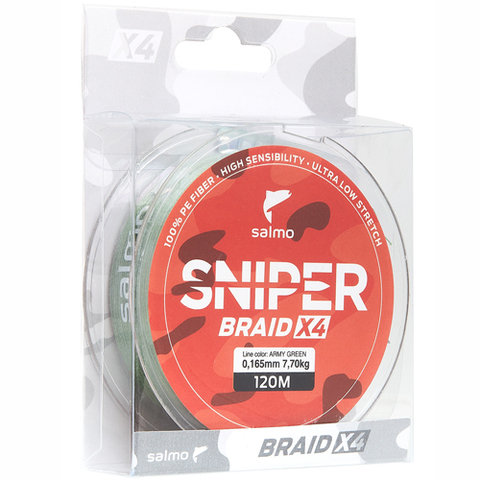 Плетеный шнур SALMO Sniper BRAID Army Green 120m - 0,23