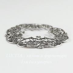 Винтажный декоративный элемент - рамка  48х48 мм (оксид серебра)