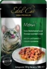 Пауч для кошек Edel Cat нежные кусочки в соусе, утка, кролик