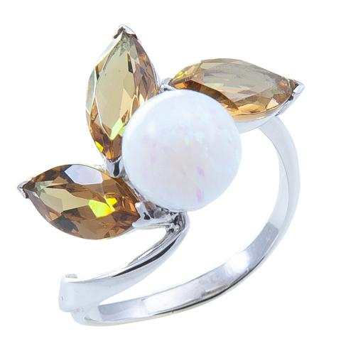 Кольцо из серебра с опалом и султанитом Арт.1109о султ