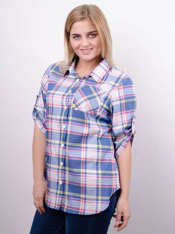 Делюкс. Стильная женская рубашка плюс сайз. Клетка джинс.