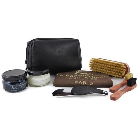 Набор-сумка с обувной косметикой, кожа La Cordonnerie Anglaise (LCA) (Черный, Ягуар)