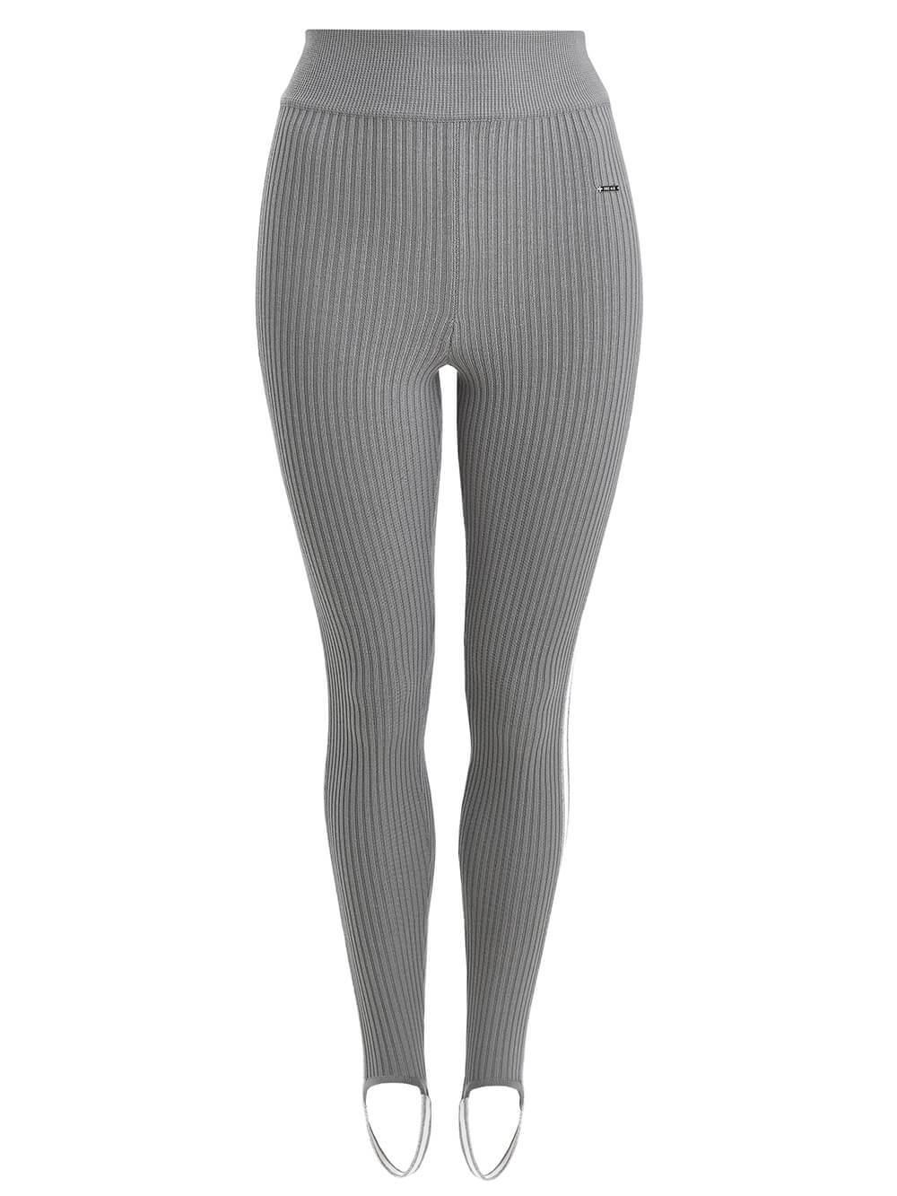 Женские брюки светло-серого цвета с контрастной полосой - фото 1