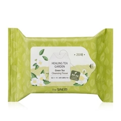 THE SAEM Garden Салфетки очищающие с экстрактом зеленого чая Healing Tea Garden Green Tea Cleansing Tissue 20шт