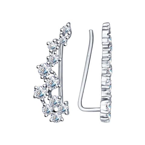 94022203-Серьги-зажимы из серебра с фианитами
