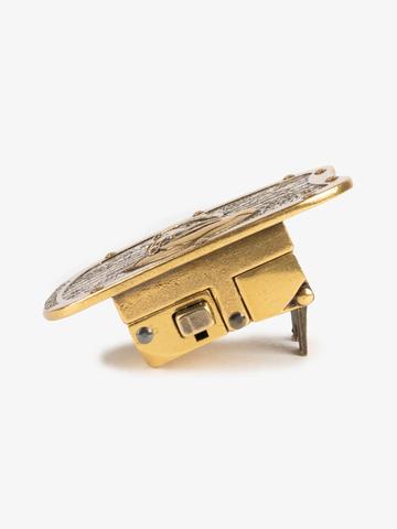Бляха-автомат золотого цвета – Богатырская