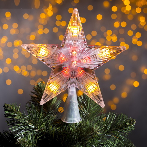 Светящая Звезда наконечник на ёлку 17х17 см Прозрачная-Мульти