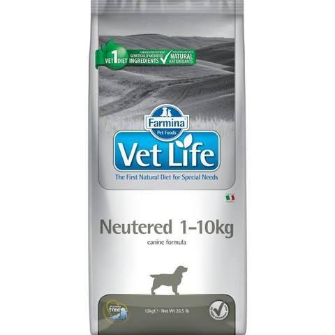 Farmina Vet Life Canin Neutered для взрослых кастрированных и стерилизованных собак весом 1-10кг. вес 10кг