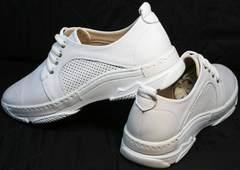 Красивые модные кроссовки туфли с перфорацией женские Derem 18-104-04 All White