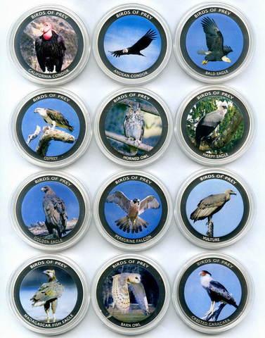 """Набор из 12 монет 10 квача 2010 год Малави """"Хищные птицы"""""""
