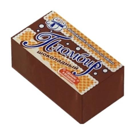 Мороженое пломбир шоколадный в брикете на вафлях 90 г. Минск