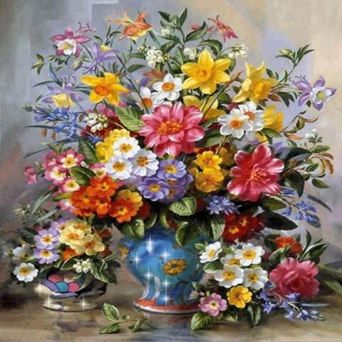 Алмазная Мозаика 30x40 Большой разноцветный букет цветов в вазе