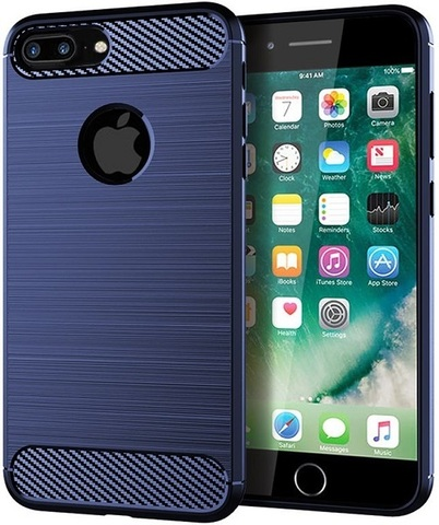 Чехол iPhone 8 Plus цвет Blue (синий), серия Carbon, Caseport