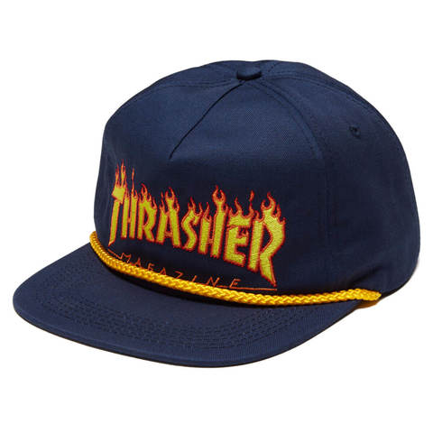 Кепка THRASHER Flame Rope Snapback (Navy Blue)