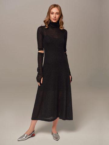 Женское черное платье миди с длинным рукавом - фото 3
