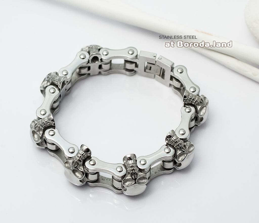 BM281 Массивный мужской браслет с черепами из стали (22 см) фото 03