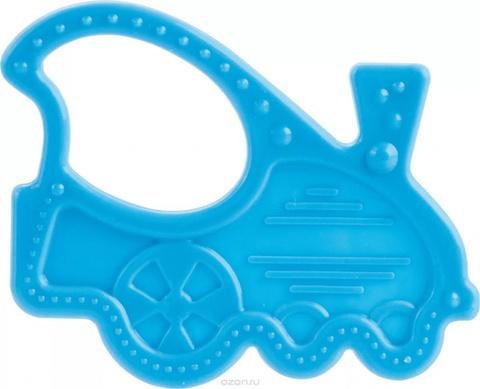 Прорезыватель мягкий, 0+, 3 вида (13/118) (голубой, форма: паровозик)