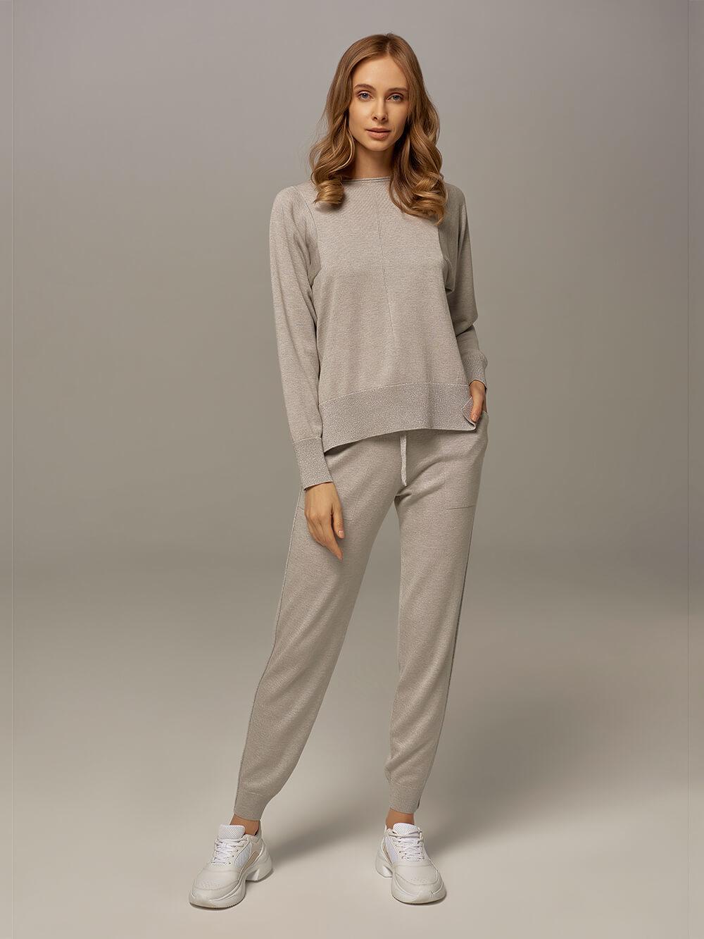 Женские брюки цвета серый меланж из шелка и кашемира - фото 1