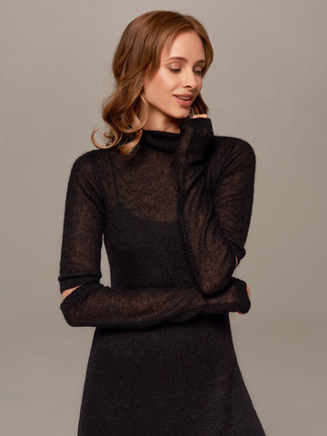 Женское черное платье миди с длинным рукавом - фото 5