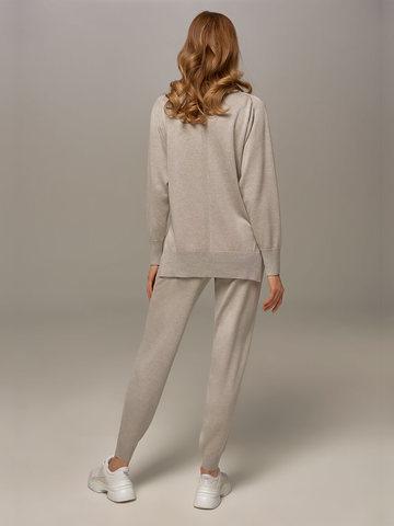 Женские брюки цвета серый меланж из шелка и кашемира - фото 3