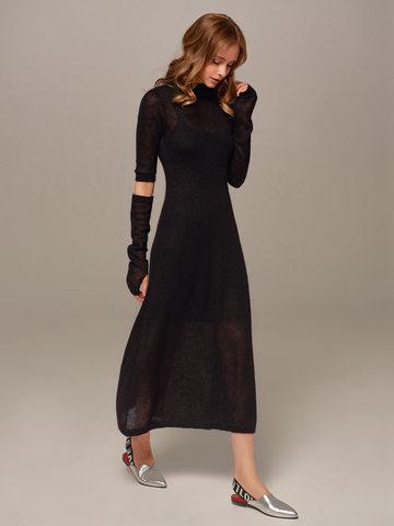 Женское черное платье миди с длинным рукавом - фото 2