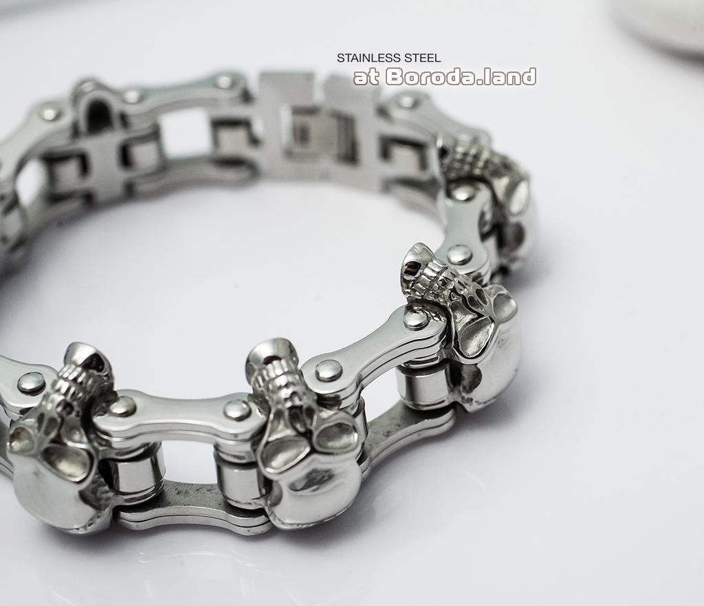 BM281 Массивный мужской браслет с черепами из стали (22 см) фото 05