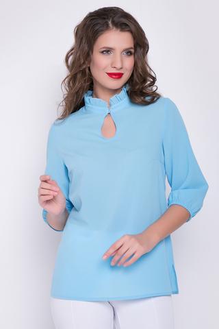<p>Классическая романтическая блузка в позитивных расцветках. Ворот - стойка с рюшей, рукав 3/4 на резинке.</p>