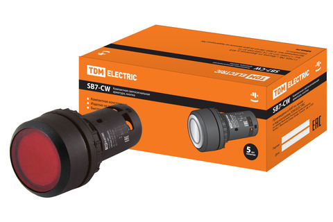 Кнопка SB7-CW3465-24V(LED) d22мм 1з+1р красная TDM