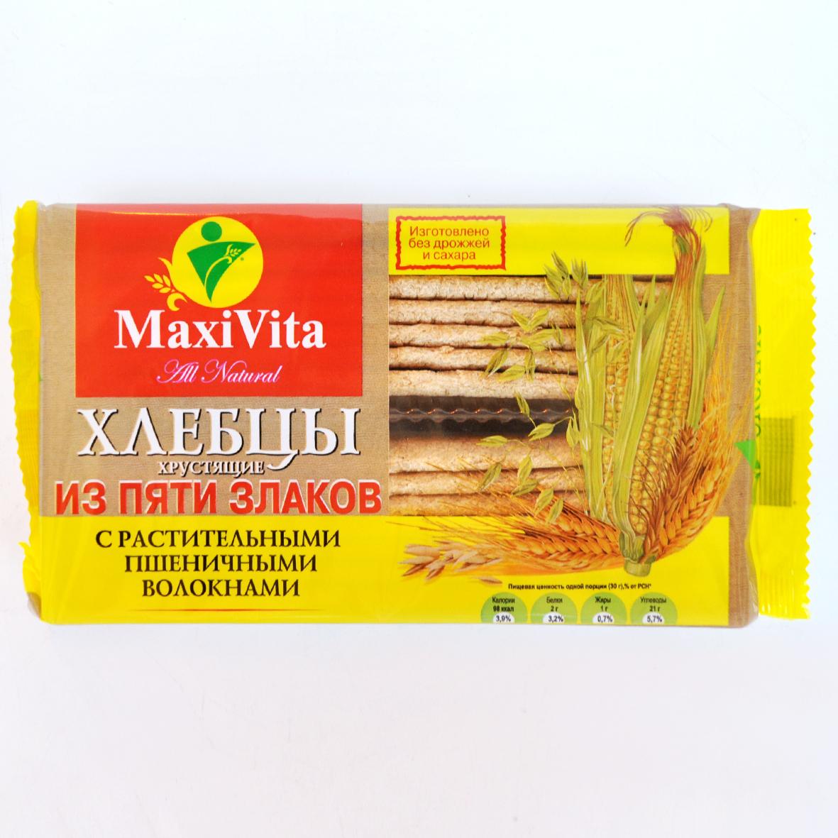 Хлебцы 5 злаков с растительными волокнами 150 гр