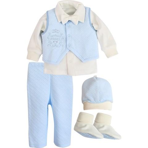 Комплект святковий для хлопчика Newborn Prince молочный с голубым
