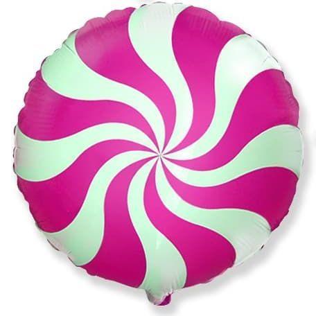 Фольгированный шар круг , леденец, фуше, 46 см