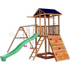 Детская площадка М9 с качелями, широким скалодромом и тентовой крышей