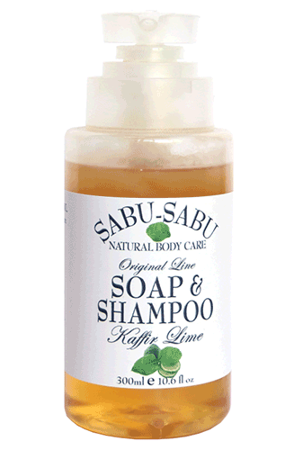 Натуральный гель для душа и шампунь 2 в 1 с маслом кафирного лайма, Sabu-Sabu