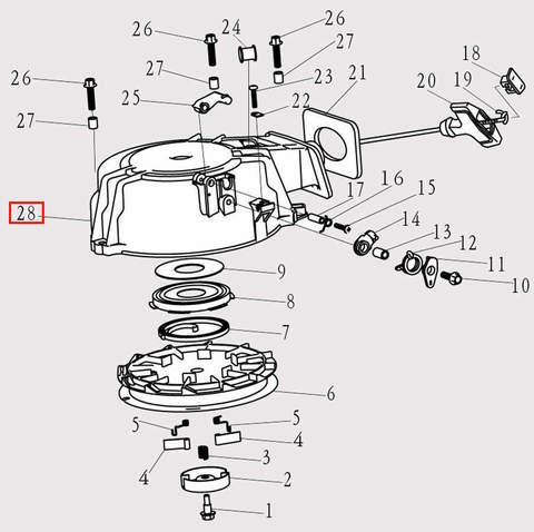 Корпус стартера для лодочного мотора F9.8 Sea-PRO (8-28)