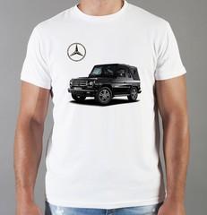 Футболка с принтом Mercedes-Benz (Мерседес-Бенц) белая 05