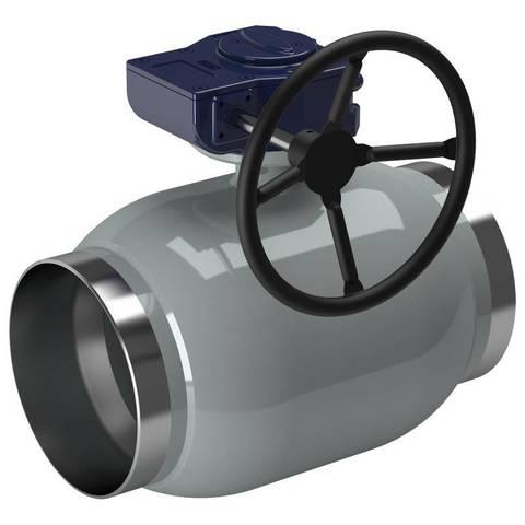 Кран шаровый приварной LD КШЦП для воды полный проход с редуктором
