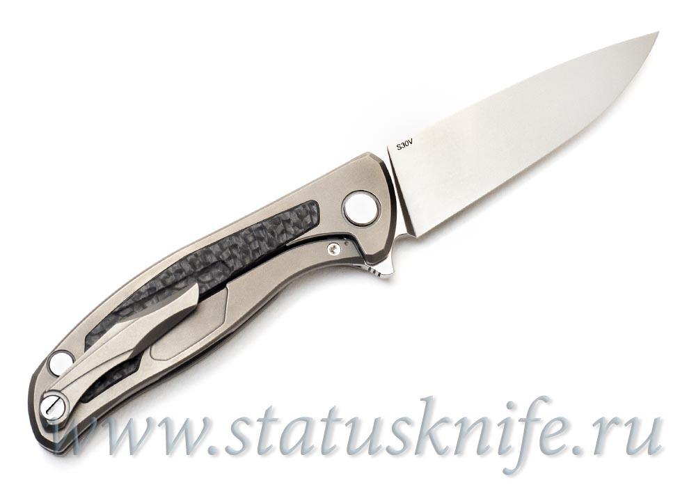Нож Широгоров Флиппер 95 S30V накладка карбон - фотография