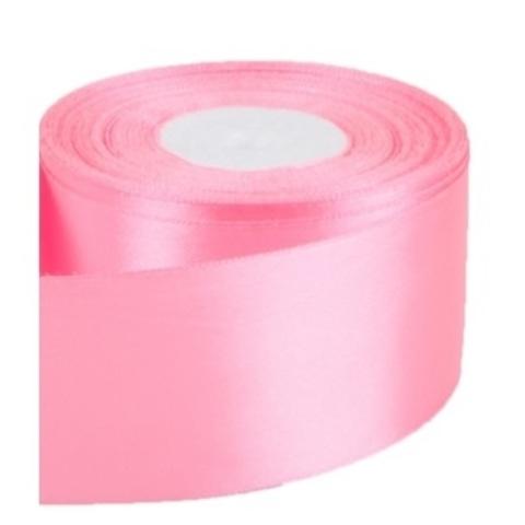 Лента атласная (размер: 50мм х 30м) Цвет:розовая