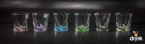 Набор из 6 цветных стопок для водки Quadro Ассорти, 55 мл