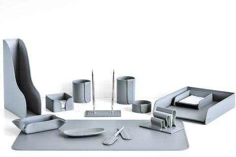Настольный офисный набор 13 предметов из кожи, цвет серый