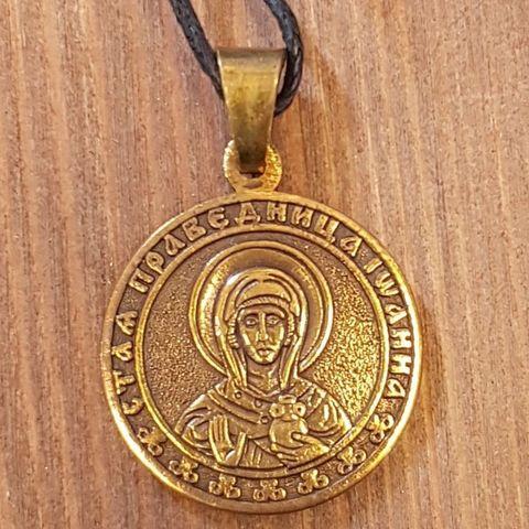 святая Иоанна (Яна, Жанна) именная нательная икона из бронзы кулон с молитвой