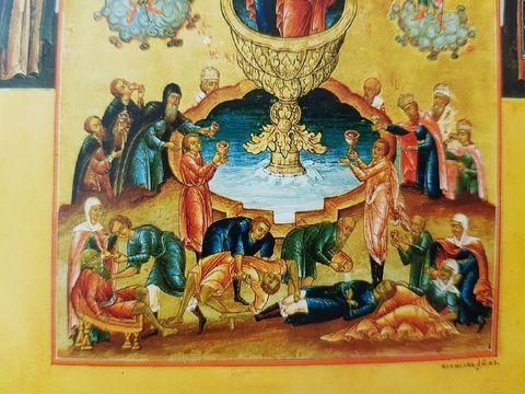 Икона Богородицы Живоносный Источник на дереве на левкасе