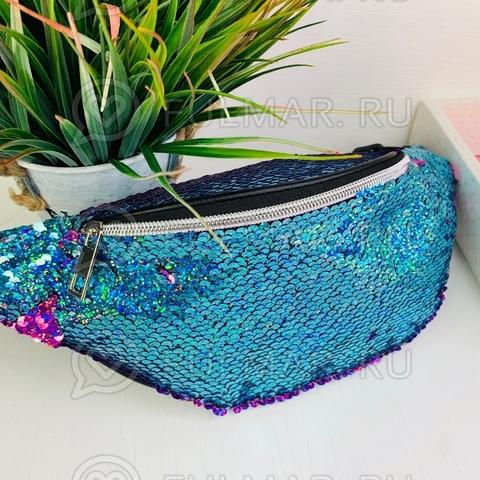 Поясная сумка летняя для девочки в блестящих пайетках Единорога меняет цвет Голубой-Фиолетовый