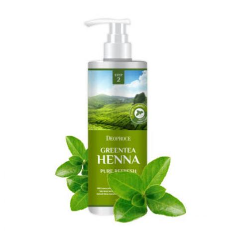 Deoproce Greentea Henna Pure Refresh Rinse - Бальзам для волос с зеленым чаем и хной