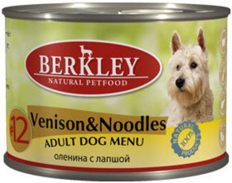 Консервы Berkley №12 Оленина с лапшой для взрослых собак